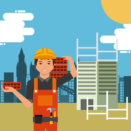 Worker in construction site building carrying bricks on shoulder vector illustration.