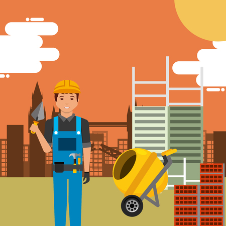 Worker with spatula and concrete mixer in construction site building vector illustration.