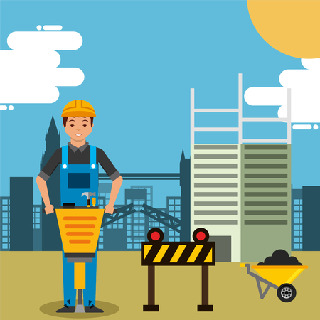 worker with jackhammer wheelbarrow and barrier in construction site building vector illustration Illustration