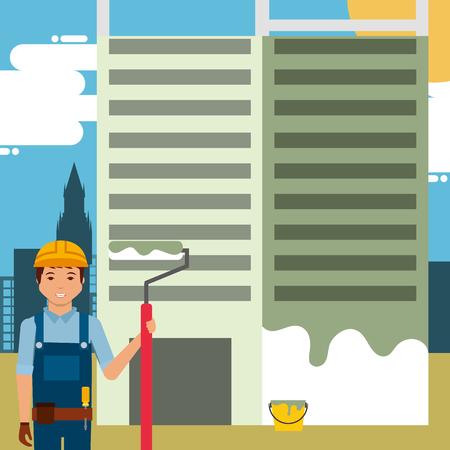 Travailleur peint bâtiment avec rouleau de peinture dans le vecteur de construction de site illustration Banque d'images - 98410192
