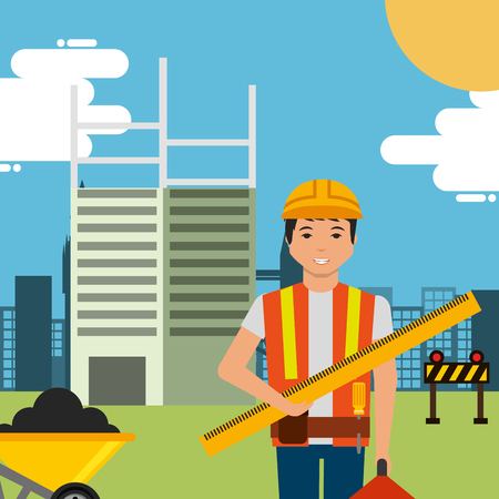 Worker ruler tool box and wheelbarrow in construction site building vector illustration.