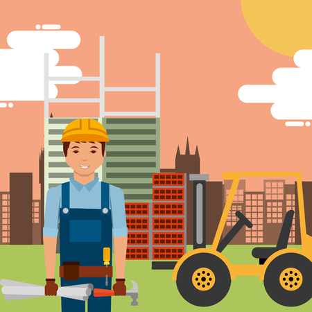 worker with hammer blueprint and forklift in construction site building vector illustration