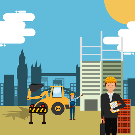 engineer and foreman worker in construction site building vector illustration Çizim