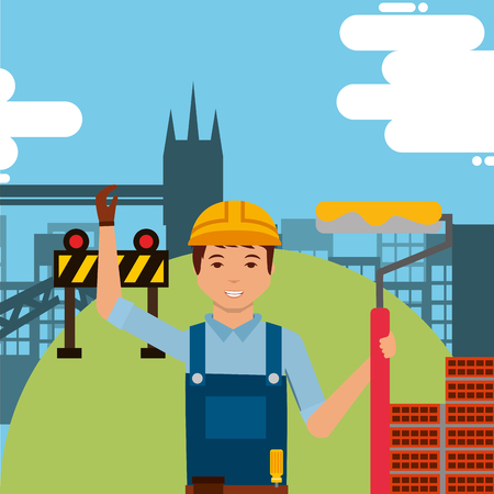 foreman worker holding paint roller with hard hat and construction bricks vector illustration