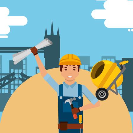 Foreman worker holding hammer blueprint in construction vector illustration.