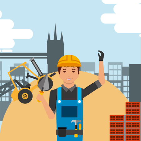 worker holding spatula with hard hat and construction forklift structure bricks vector illustration