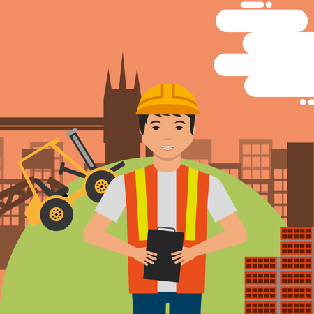 worker holds clipboard with hard hat and construction forklift structure bricks vector illustration Vettoriali