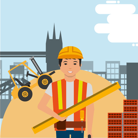 worker holding ruler with hard hat and construction forklift structure bricks vector illustration