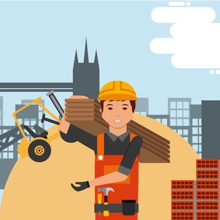Worker with hard hat and construction forklift structure bricks vector illustration.