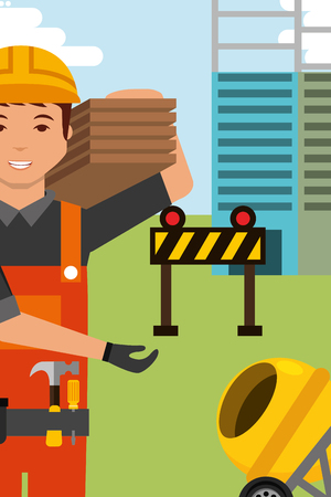 construction worker character and concrete mixer barrier equipment vector illustration