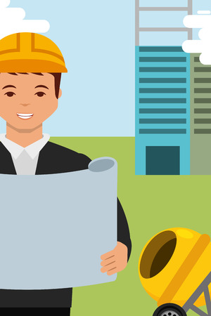 construction architect engineer character holding blueprint and equipment vector illustration Illustration