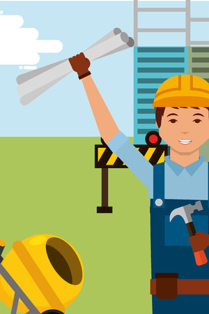 construction foreman worker character with blueprint and equipment vector illustration Reklamní fotografie - 98410219