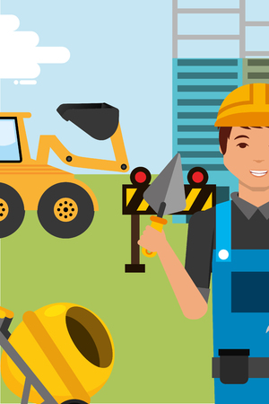 construction worker character with spatula bulldozer and concrete mixer vector illustration