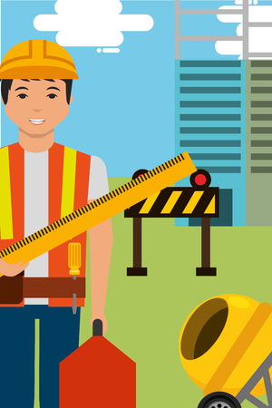 Construction worker character holds ruler toolbox and equipment vector illustration. Illustration