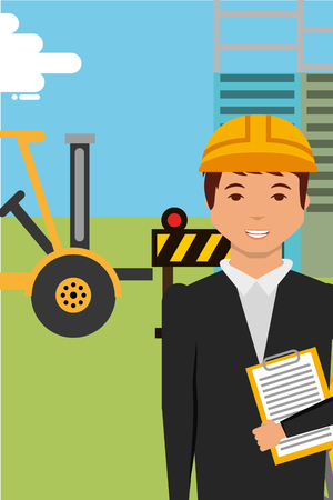 construction engineer character and equipment forkllift vector illustration
