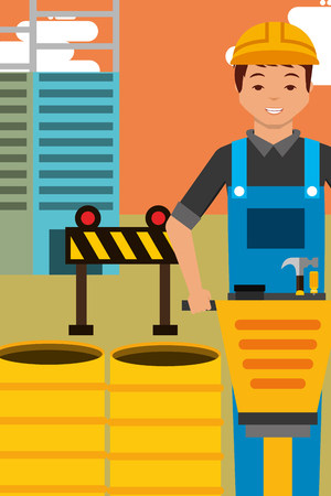 construction worker character and jackhammer barrels and barier equipment vector illustration