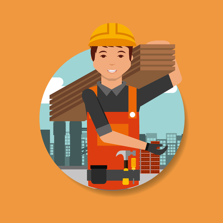 construction worker carrying board on shoulder vector illustration