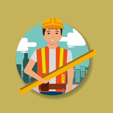 construction worker holding ruler measuring vector illustration