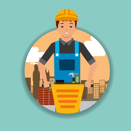 construction worker with jackhammer equipment vector illustration  イラスト・ベクター素材