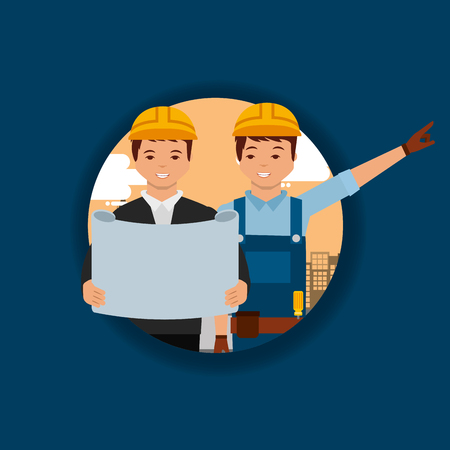 construction worker foreman and architec with project plan vector illustration