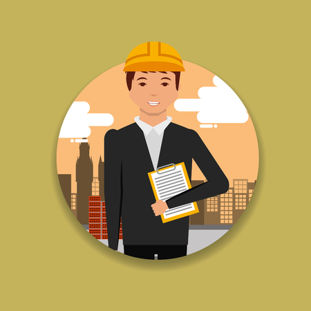 construction architect engineer worker holding clipboard vector illustration