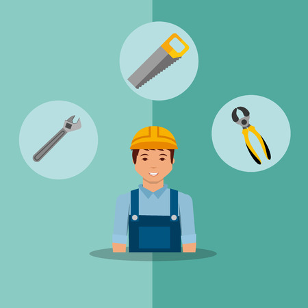 construction foreman worker saw spanner and pliers tools vector illustration