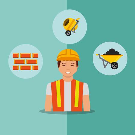 construction worker bricks concrete mixer and wheelbarrow tools vector illustration Illustration