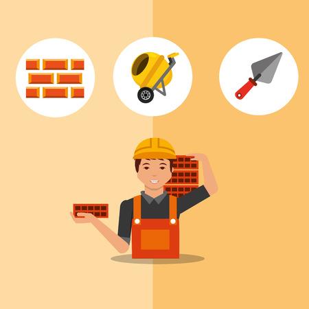 construction worker carrying bricks spatula mixer and bricks tools vector illustration