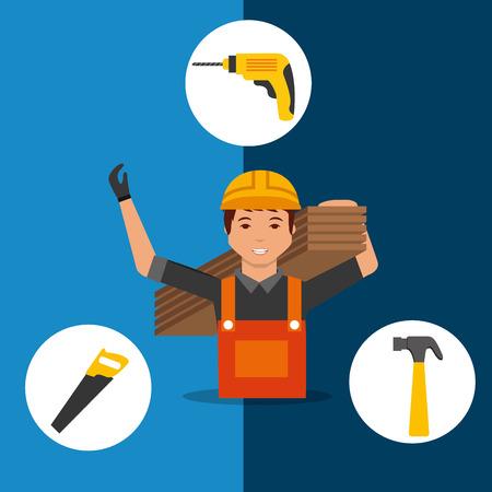 carpenter holding wooden boards saw hammer drill tools vector illustration Illustration