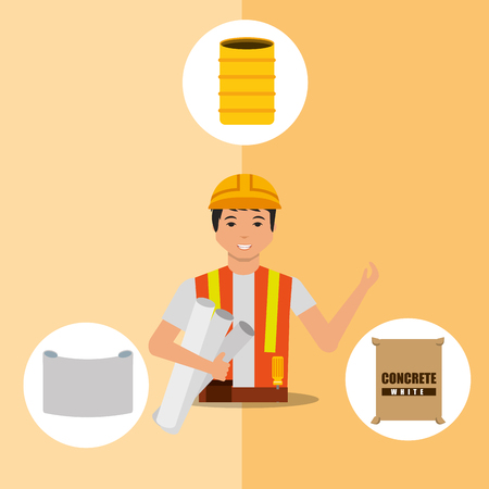 construction foreman worker barrel blueprint and concrete tools vector illustration