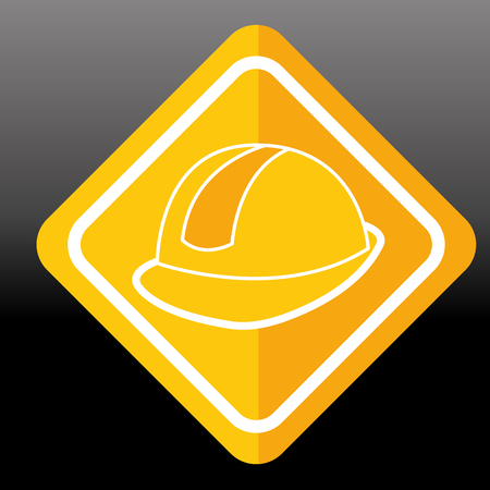 construction sign helmet protection image vector illustration Illustration