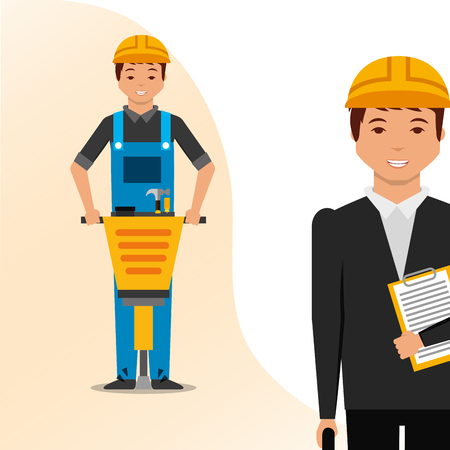 construction architect blueprint and worker jackhammer vector illustration Ilustração