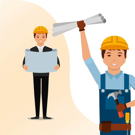 construction architect blueprint and worker with tools vector illustration
