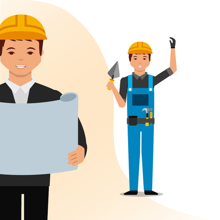 construction architect blueprint and worker holding spatula vector illustration