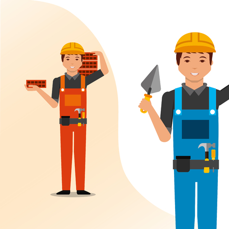 construction people workers spatula and bricks tools vector illustration