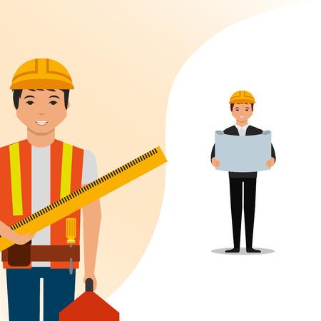 設計図と労働者定規ツールボックスのベクトルイラストを持つ建設建築家