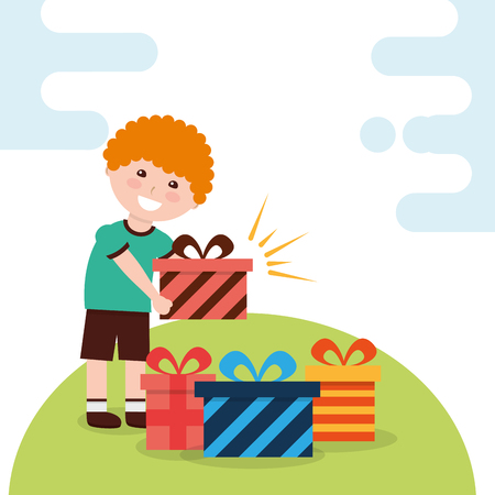 happy young boy holding gift box and various boxes in floor vector illustration Archivio Fotografico - 98448520