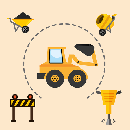 construction machinery excavator jackhammer barrier and concrete mixer tools equipment vector illustration