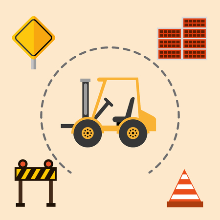 construction machinery forklift barrier cone bricks wall tools equipment vector illustration Illustration