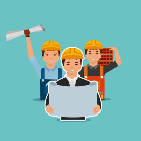 construction architect blueprint foreman worker bricks vector illustration