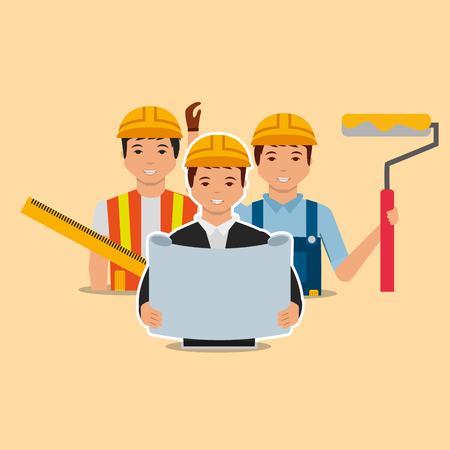construction architect blueprint painter and designer vector illustration 일러스트