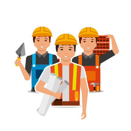 construction people worker with project plan bricks and spatula vector illustration