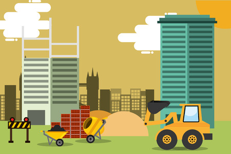 construction site with machinery equipment and tools vector illustration