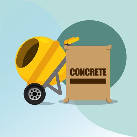 construction concrete mixer and bag tools equipment vector illustration Illustration
