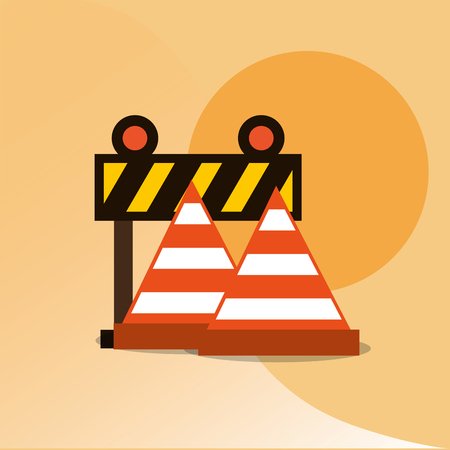 construction tools equipment barrier and cone traffic vector illustration Illustration
