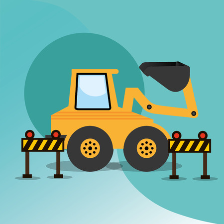 construction machinery excavator and barriers equipment vector illustration
