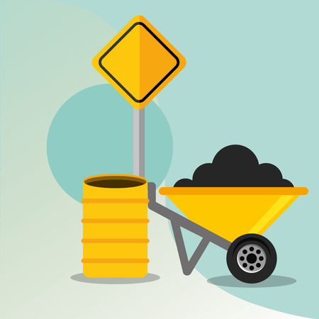 construction wheelbarrow barrel and road sign vector illustration Stock Illustratie