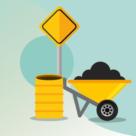 construction wheelbarrow barrel and road sign vector illustration Illustration