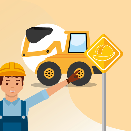 construction worker pointing road sign and bulldozer vector illustration Ilustração