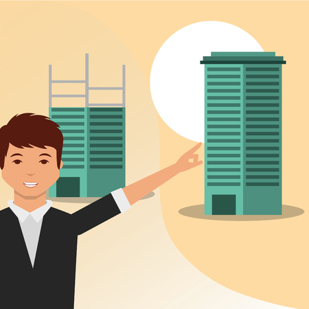 man pointing building finish work construction vector illustration